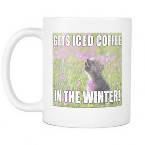 Iced coffee dog meme on 11 ounce coffee mug double sided