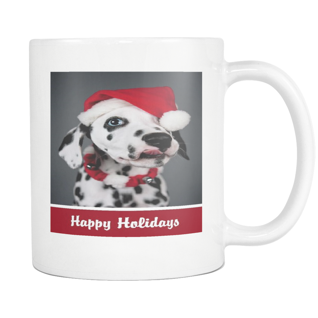 Happy Holidays dog 11 ounce coffee mug