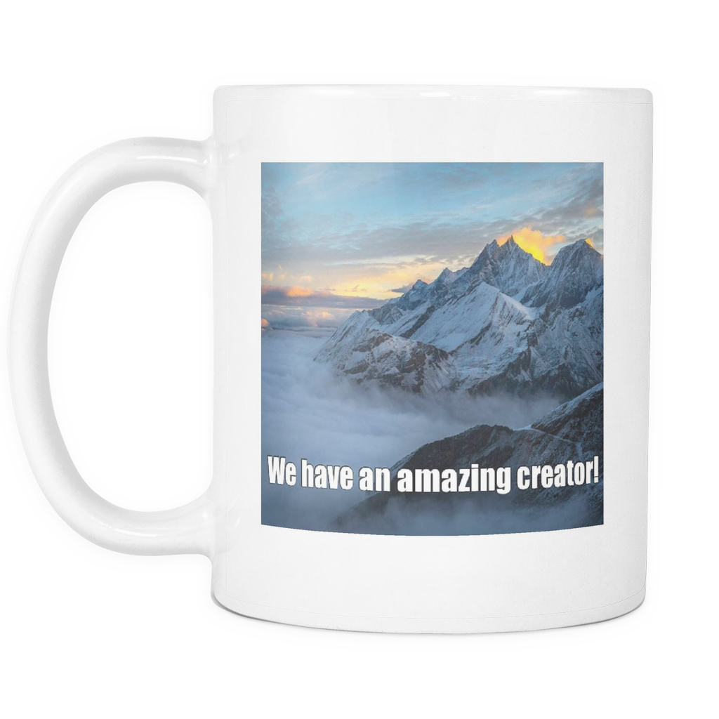 Mountain view on 11 ounce double sided coffee mug