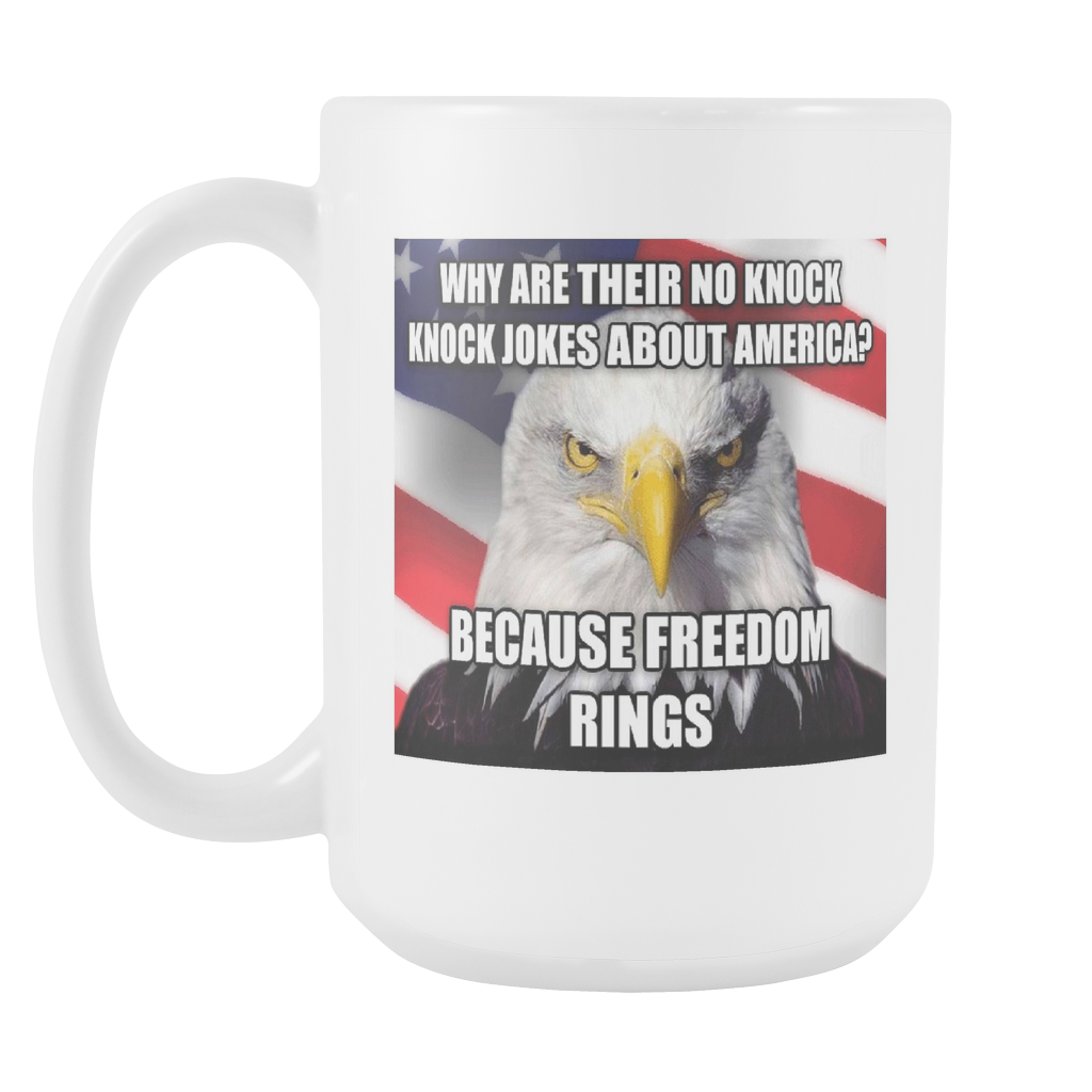 Freedom Rings USA double sided 15 ounce coffee mug