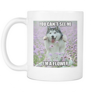 Flower dog meme 11 ounce coffee mug double sided