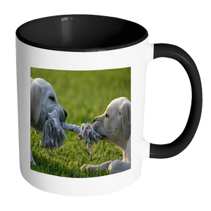 Puppy Tug of war double sided 11 ounce coffee accent mug
