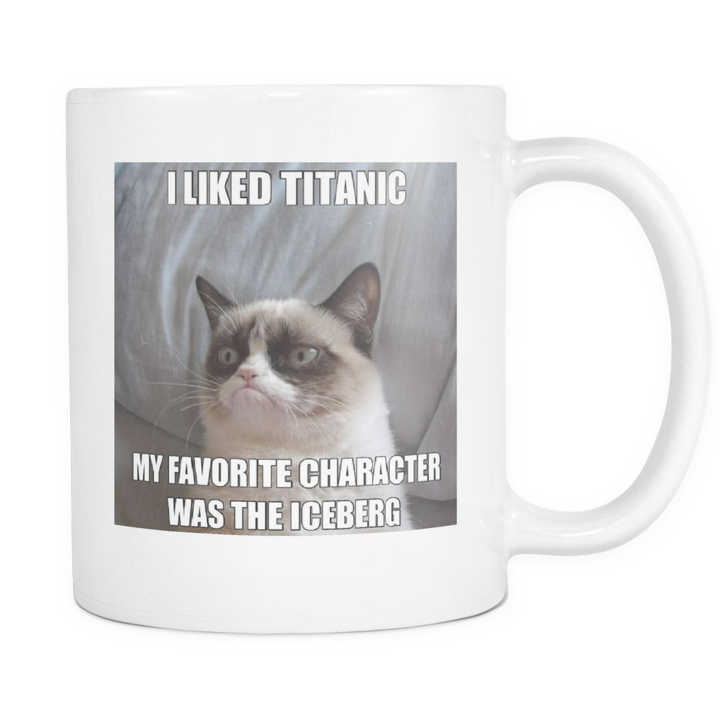 ICEBERG CAT MEME DOUBLE SIDED COFFEE 11 OUNCE MUG