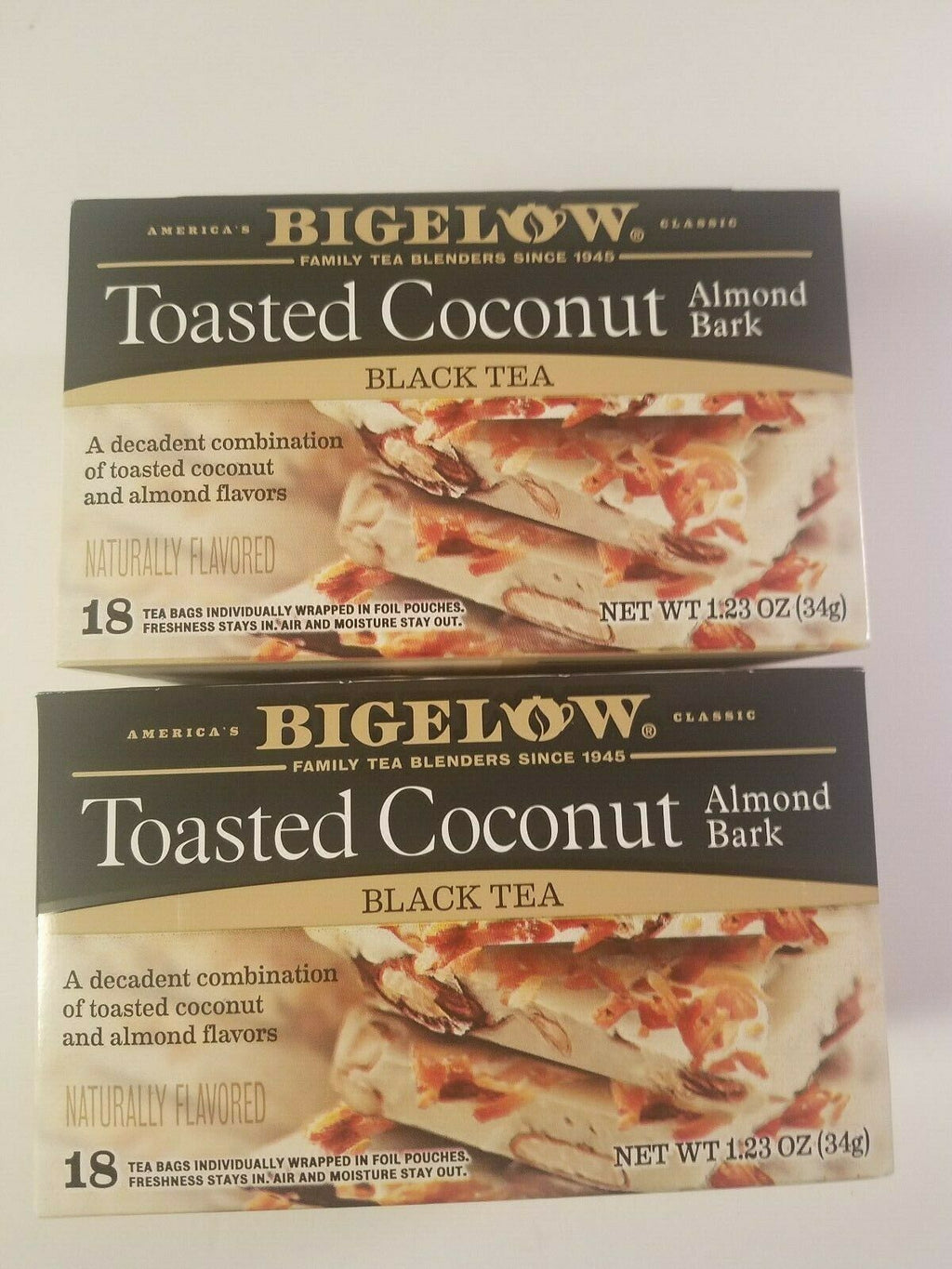 bigelow toasted coconut almond bark black tea 18 count tea bag boxes lot of 2