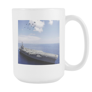 USS Abraham Lincoln Aircraft Carrier double sided 15 ounce coffee mug