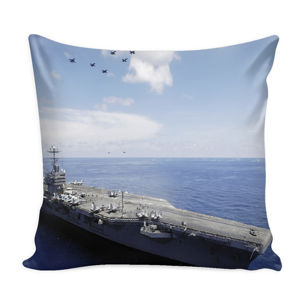 USS Abraham Lincoln Aircraft Carrier pillow cover