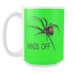 Hands Off Spider double sided 15 ounce coffee mug