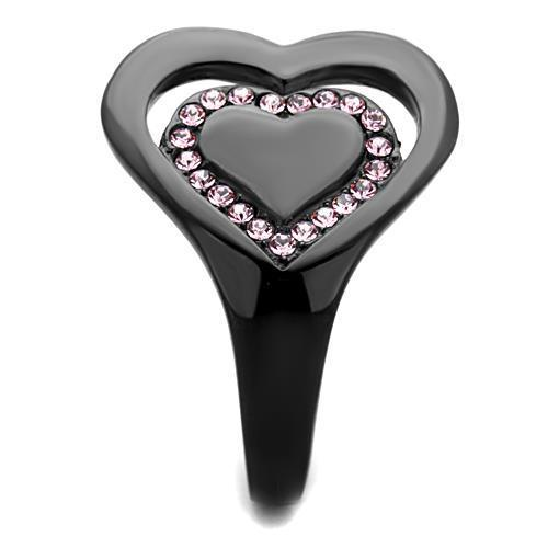 TK1737 IP Black(Ion Plating) Stainless Steel Ring With Top Grade Crystal in Light Rose