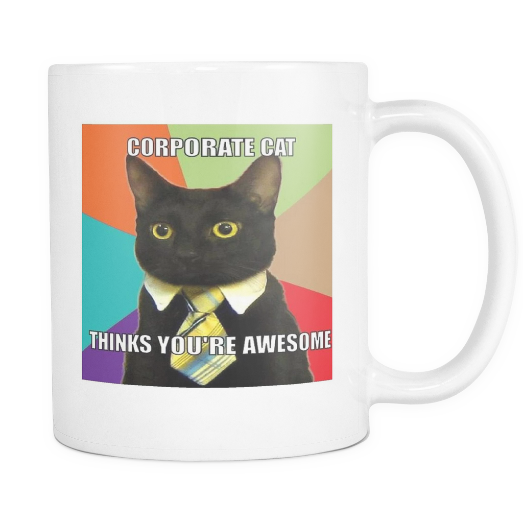 Corporate Cat funny meme 11 ounce double sided mug