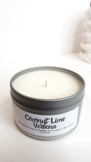 Coconut Lime Verbena Natural Soy Candle | Hand-Poured and Hand-Crafted