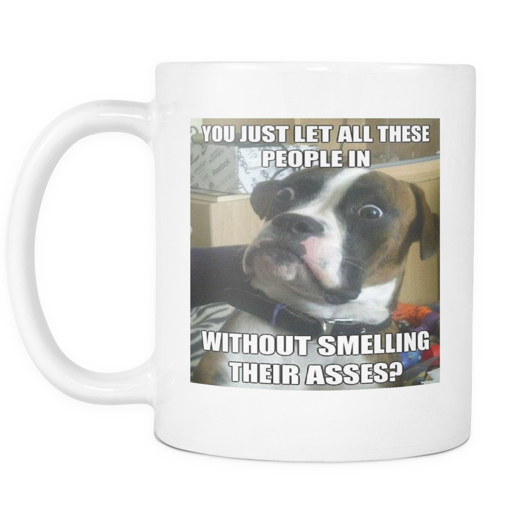 Shocked dog meme on 11 ounce double sided mug