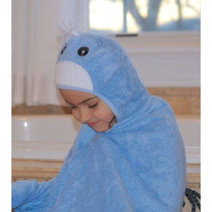 Bamboo rayon Whale Hooded Turkish Towel: Little Kid