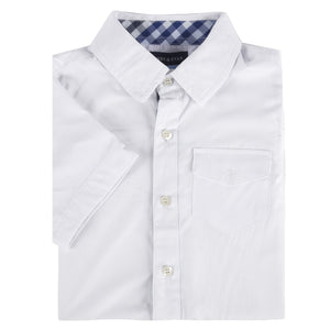 White Bamboo Short Sleeve Button-Down Shirt