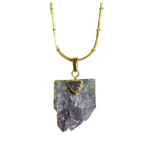 Double Chain Amethyst Pendant Necklace