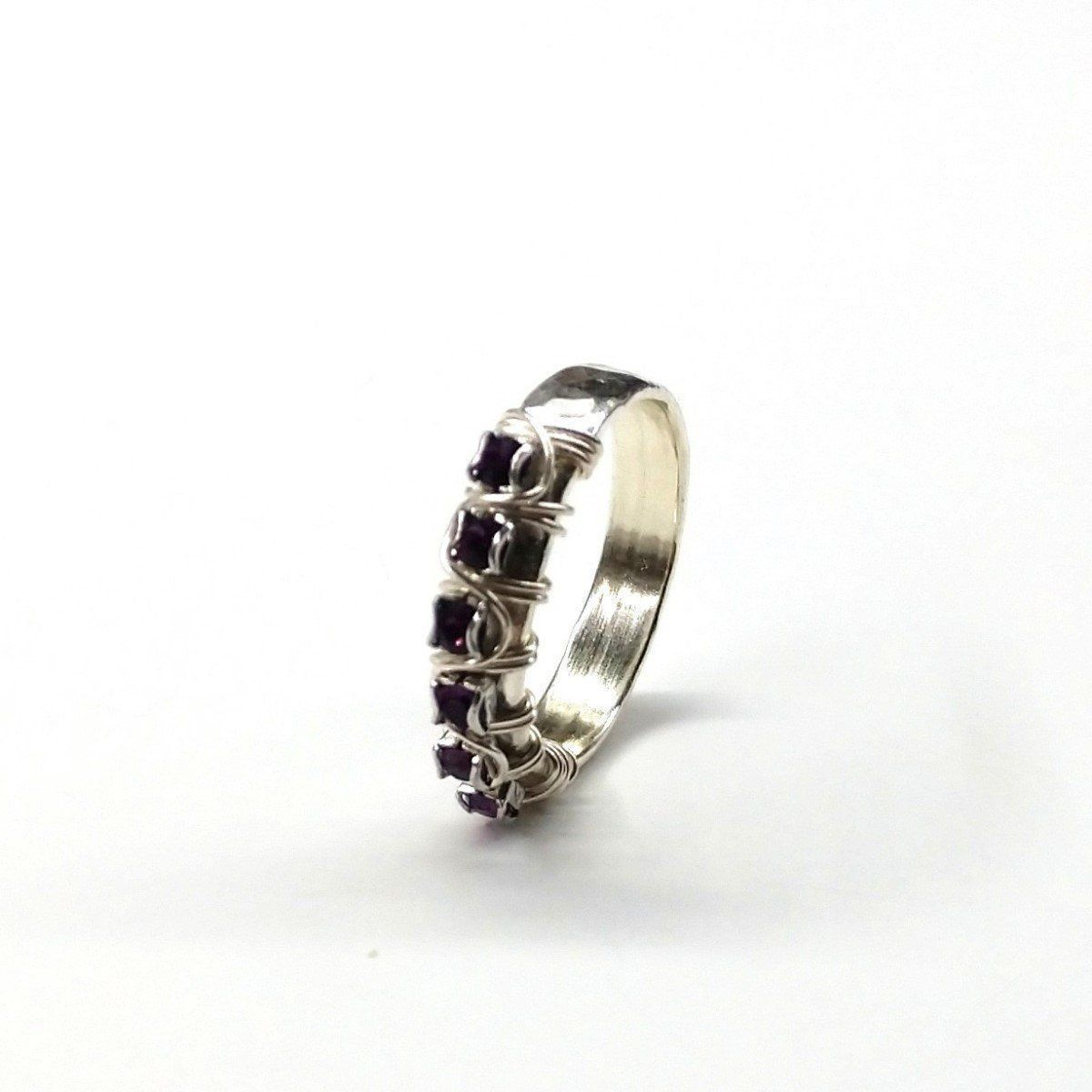Sterling Silver Hammered Amethyst Rhinestone Bling Ring