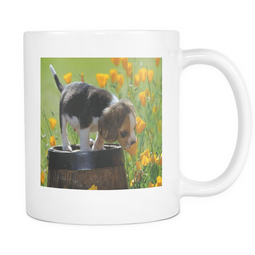 Puppy and Flowers double sided 11 ounce coffee mug
