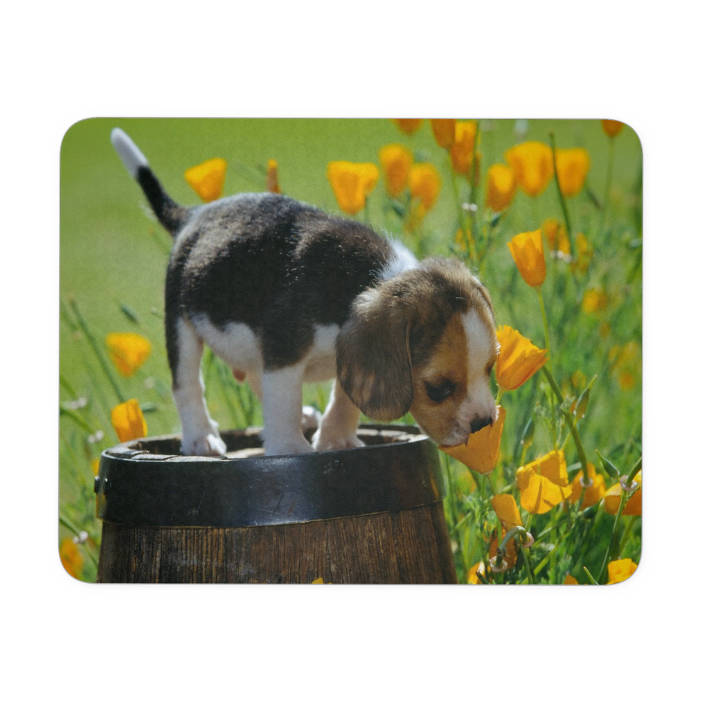 Puppy and Flowers mousepad