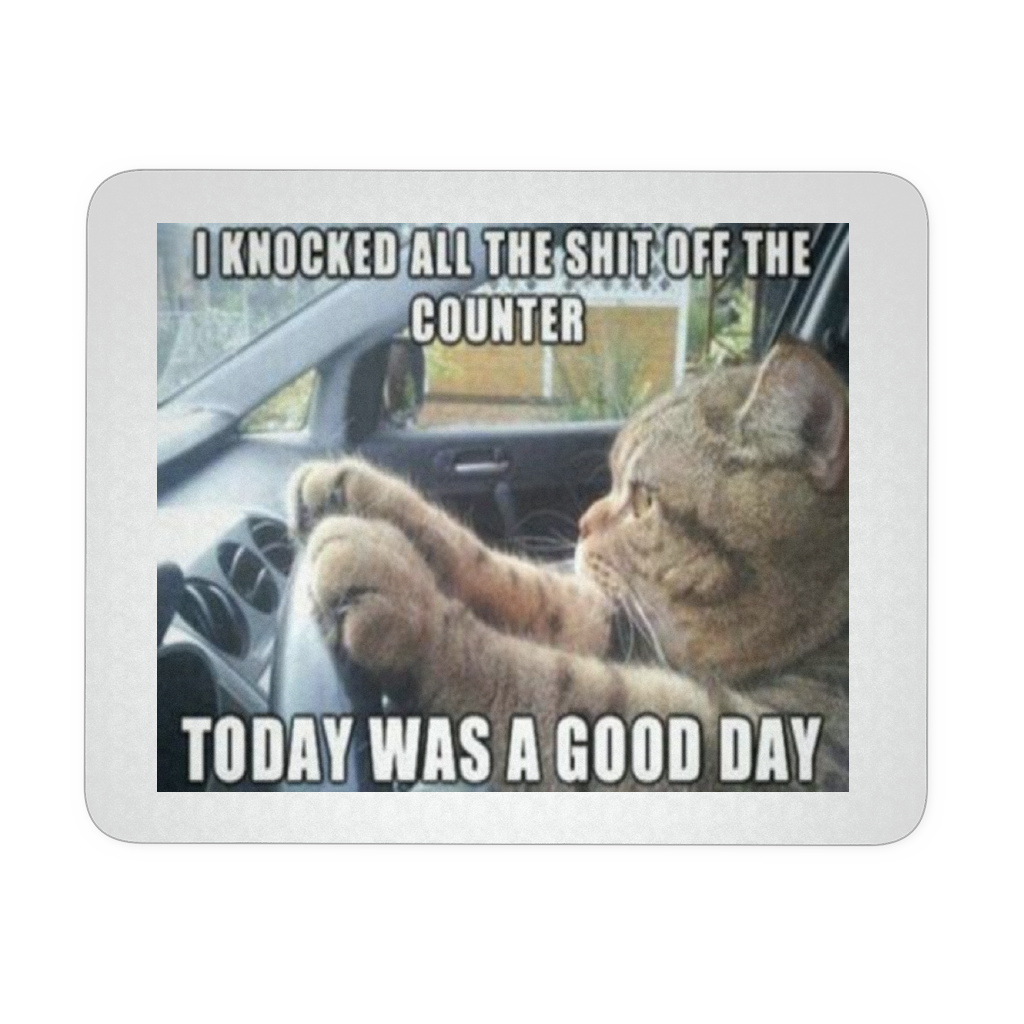 DRIVING CAT MEME FUNNY MOUSEPAD