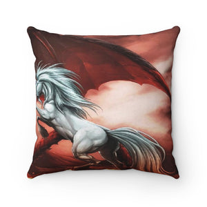 Fantasy Unicorn vs Dragon pillow Spun Polyester Square Pillow