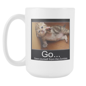 CAT ZOMBIES MEME 15 OUNCE DOUBLE SIDED COFFEE MUG