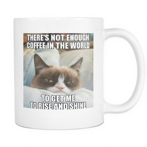 Rise and Shine funny cat meme double sided 11 ounce coffee mug