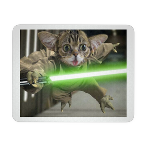 CAT WITH LIGHT SABER FUNNY MOUSEPAD