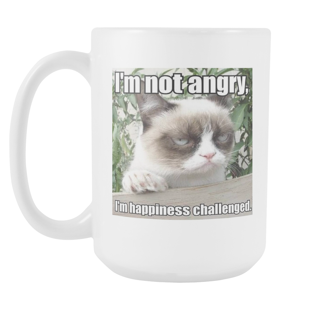Not Angry funny cat meme double sided 15 ounce coffee mug