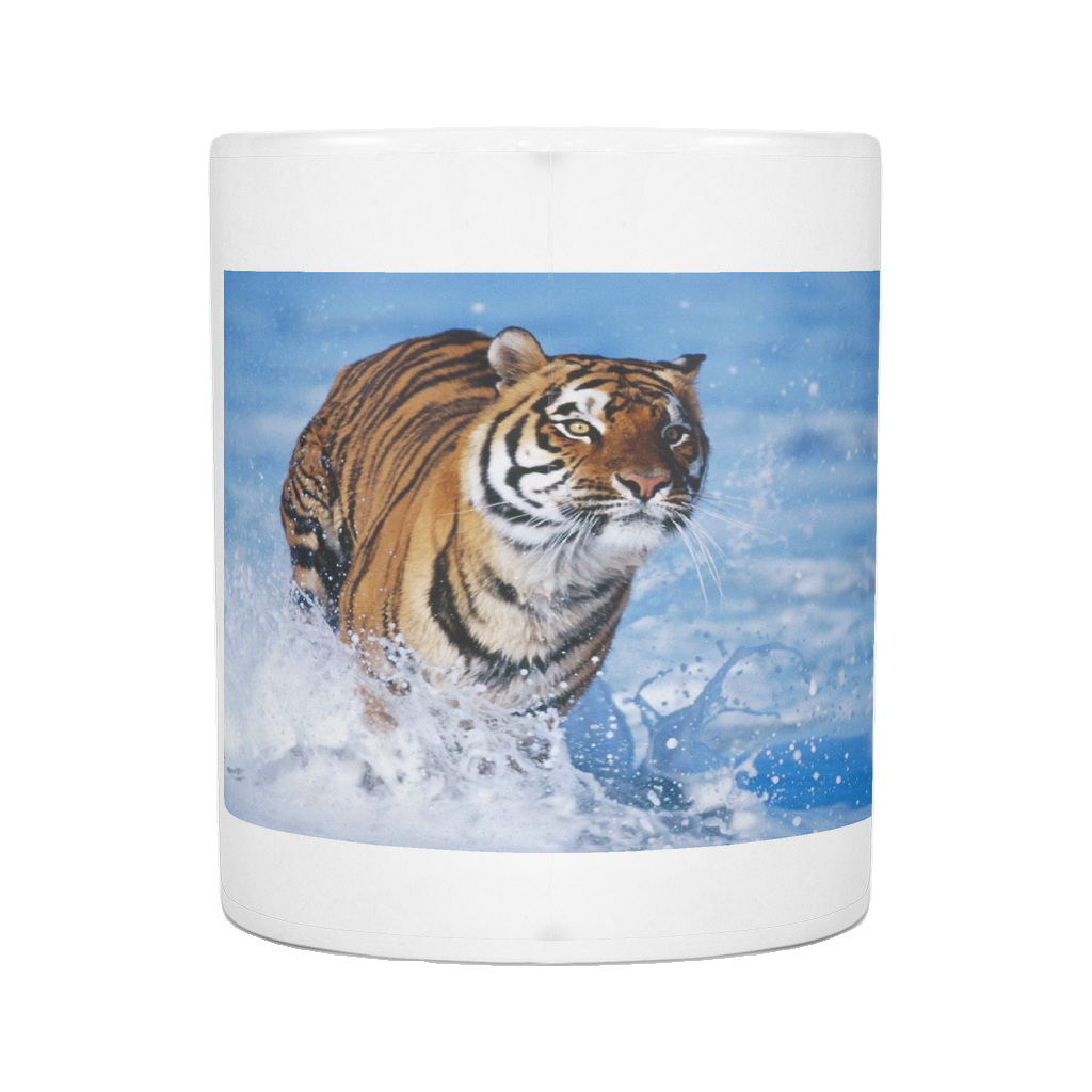 RUNNING TIGER 11 OUNCE COFFEE MUG