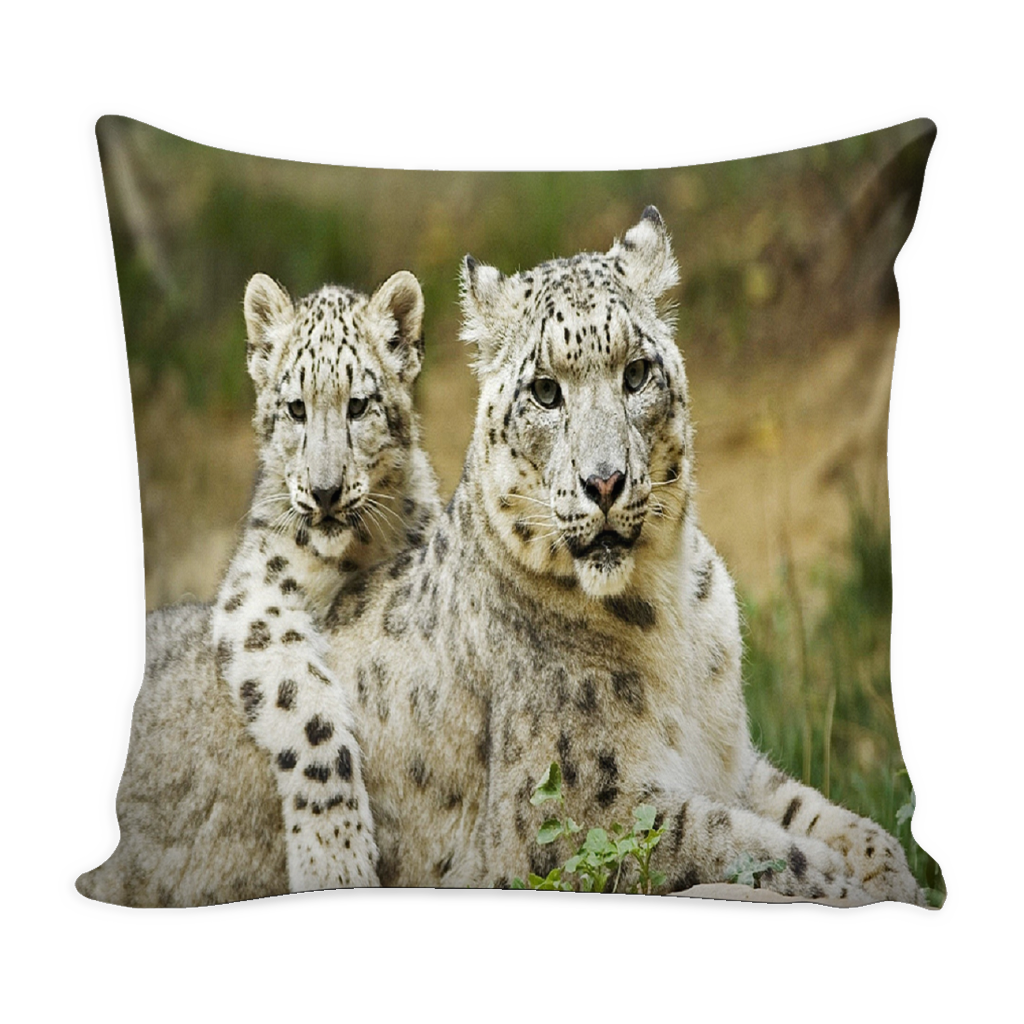 Snow Leopard Family Pillow cover