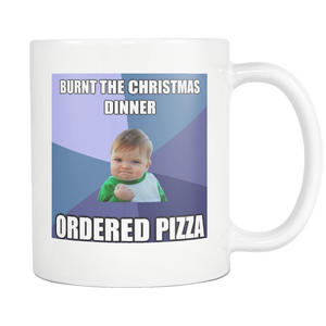 Christmas Pizza baby meme on 11 ounce coffee mug