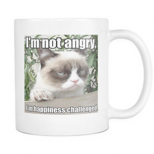 Not Angry funny cat meme double sided 11 ounce coffee mug