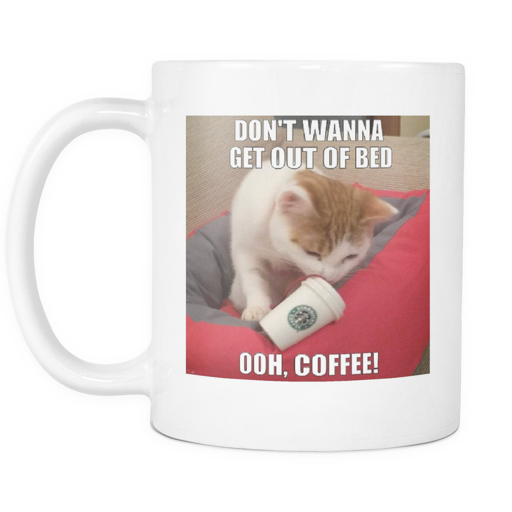 Coffee cat meme double sided 11 ounce mug