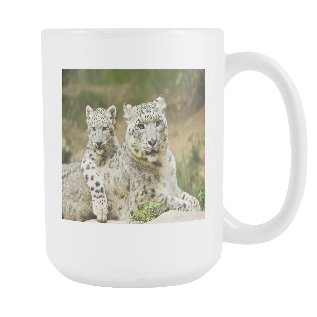 Snow leopard family double sided 15 ounce coffee mug