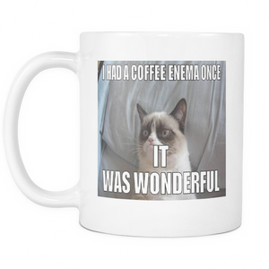 COFFEE ENEMA CAT MEME DOUBLE SIDED COFFEE 11 OUNCE MUG