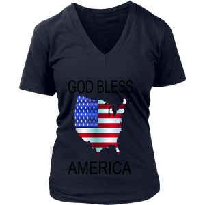 GOD BLESS AMERICA DISTRICT WOMENS V NECK