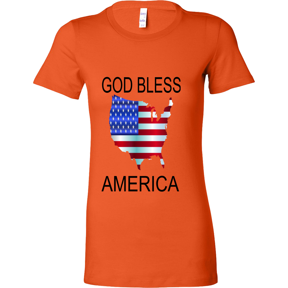 GOD BLESS AMERICA BELLA WOMENS SHIRT