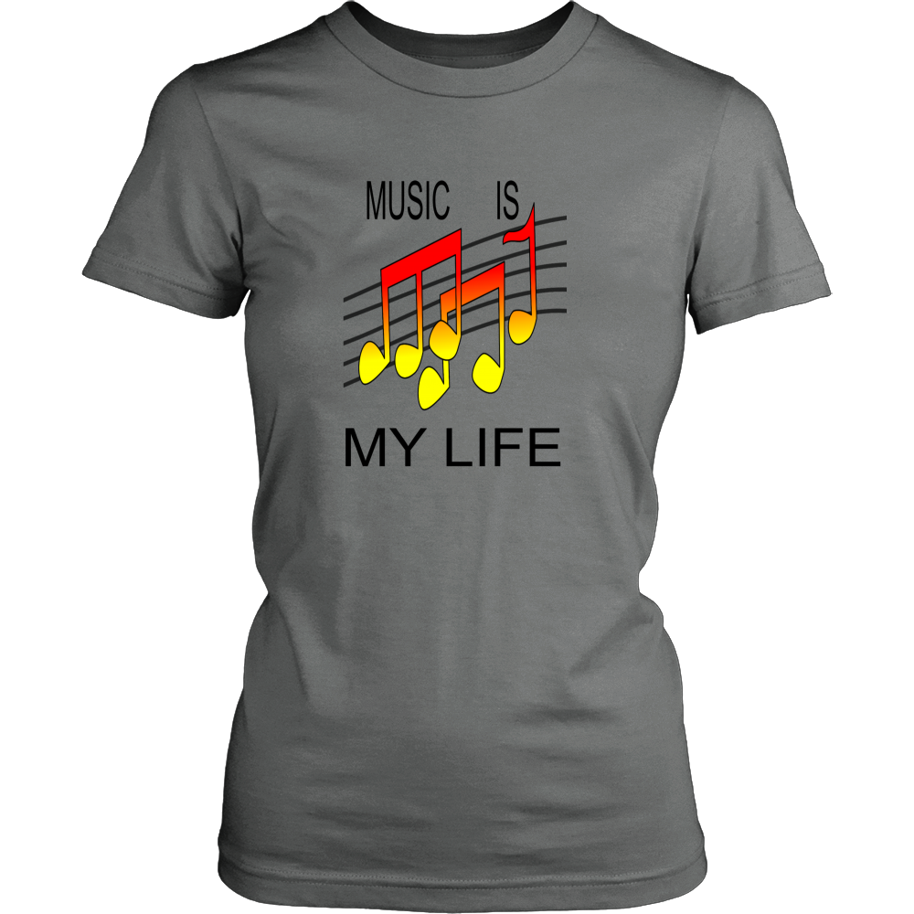 MUSIC IS MY LIFE DISTRICT WOMENS SHIRT