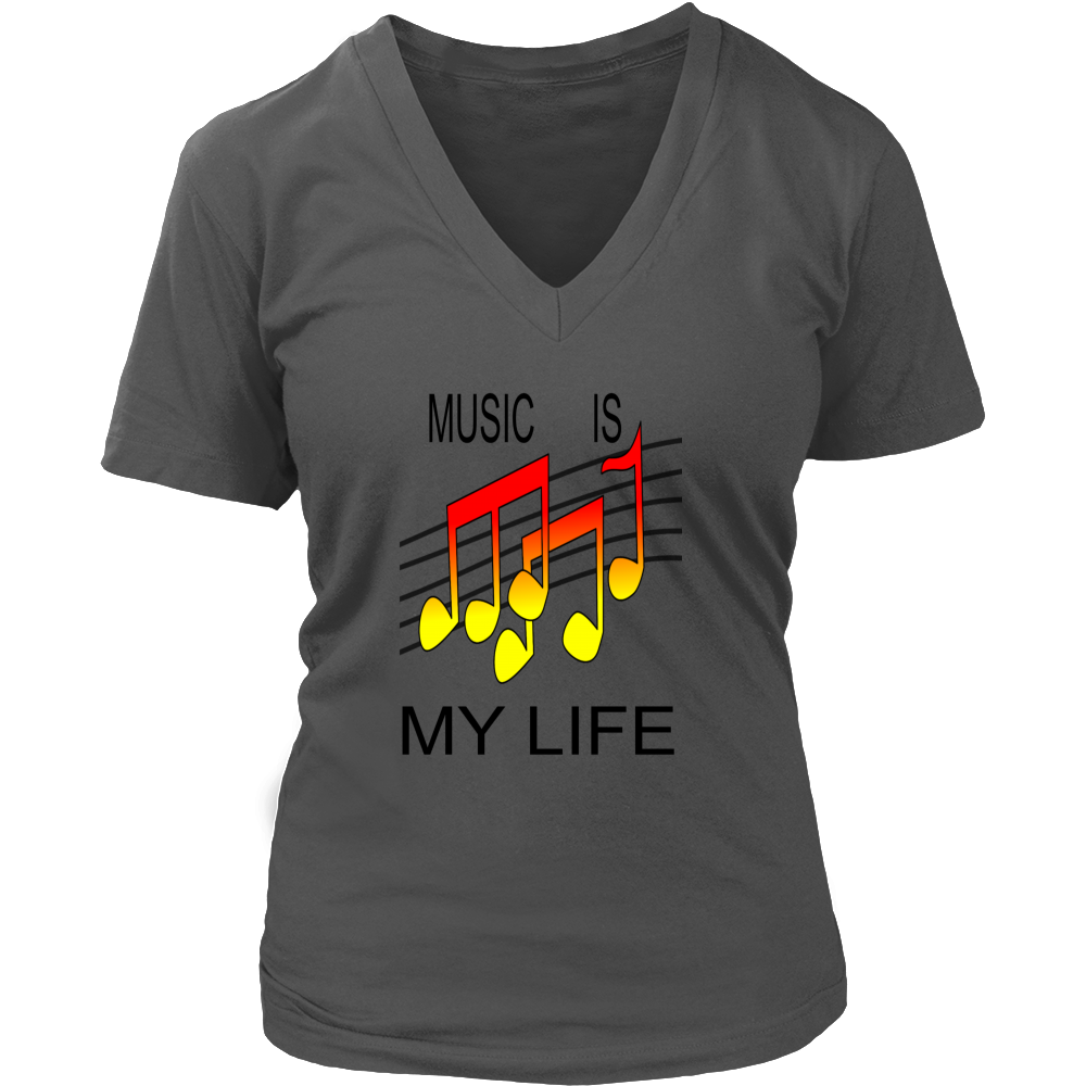 MUSIC IS MY LIFE DISTRICT WOMENS V NECK