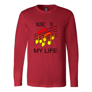 MUSIC IS MY LIFE CANVAS LONG SLEEVE SHIRT
