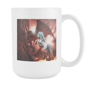 Fantasy Dragon vs Unicorn double sided 15 ounce coffee mug