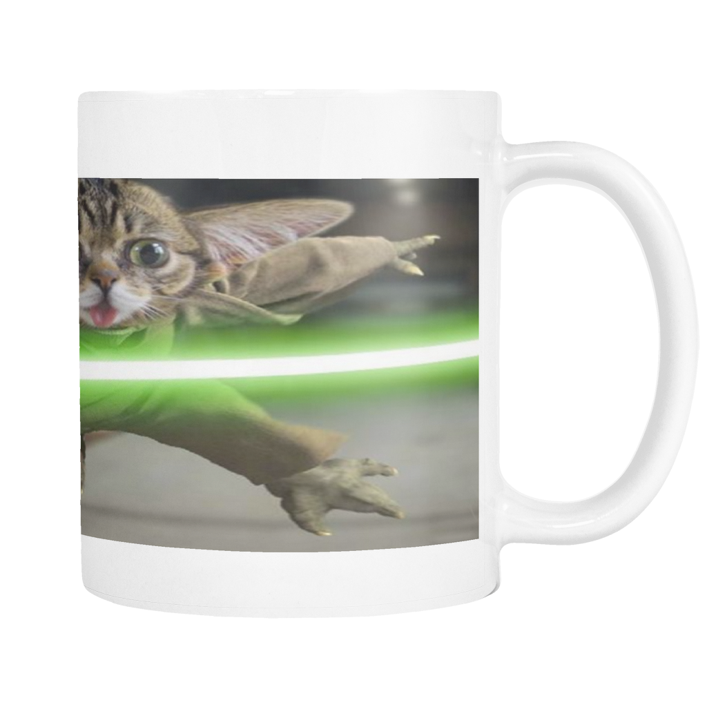 CAT WITH LIGHT SABER 11 OUNCE COFFEE MUG