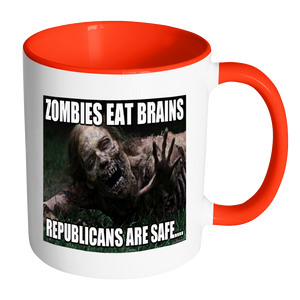 Zombies Eat Brains meme accent coffee mugs 11 ounce size