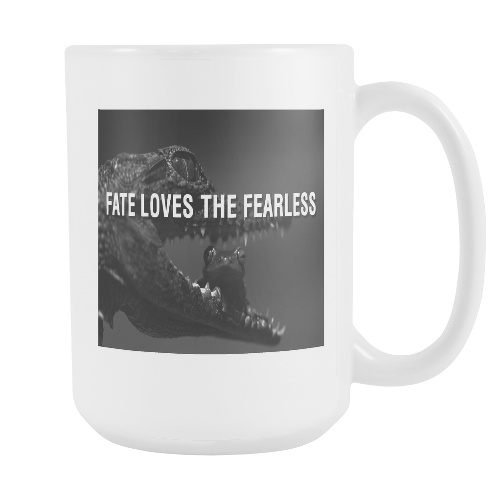 Fate loves the fearless double sided 15 ounce coffee mug