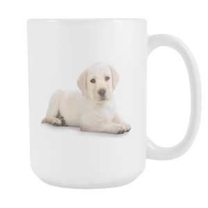 Cute dog on double sided 15 ounce coffee mug
