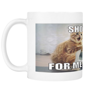 CAT AND SHOES  FUNNY MEME 11 OUNCE COFFEE MUG