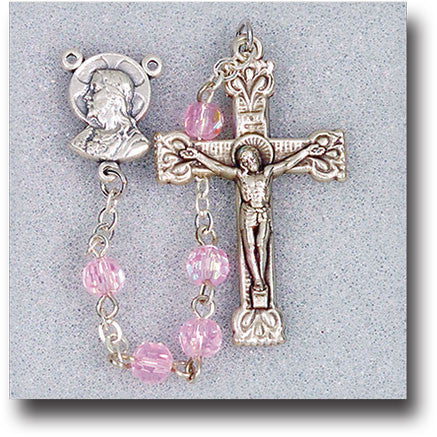 Light Rose Crystal Bead Rosary - 5mm