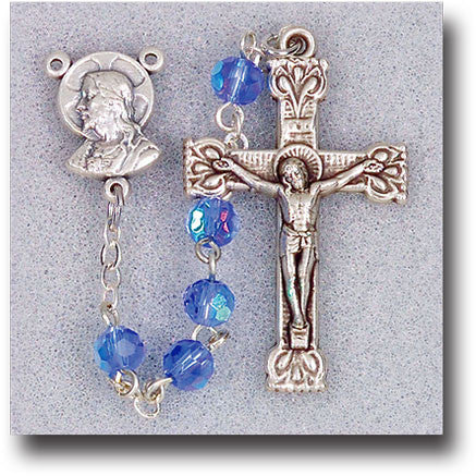 Sapphire Crystal Rosary - 5mm