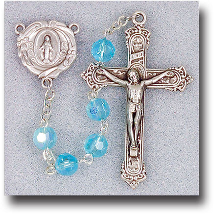 Aqua Crystal Rosary - 6mm