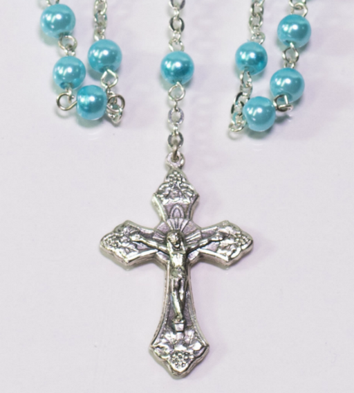 Pearlized Blue Bead Rosary