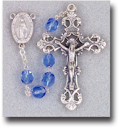 Image of SAPPHIRE GLASS BEAD ROSARY